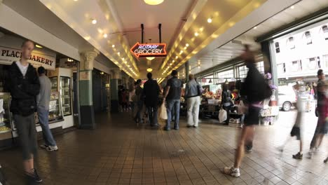 Wide-time-lapse-of-people-walking-at-Pike-Place-Market-in-downtown-Seattle-Washington