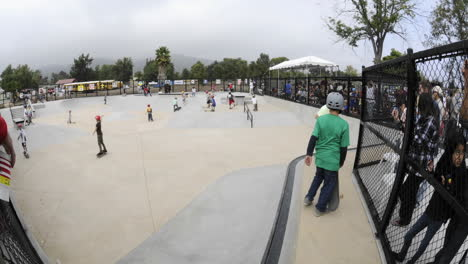 Time-lapse-of-skateboarders-at-the-grand-opening-of-Ojai-Skate-Park-in-Ojai-California