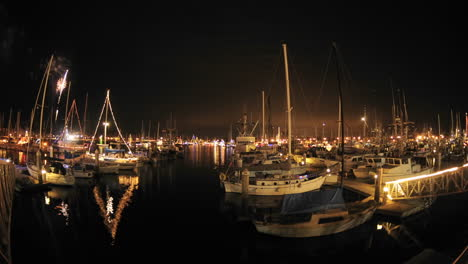 Slow-time-lapse-of-fireworks-at-the-annual-Parade-of-Lights-in-Ventura-Harbor-California