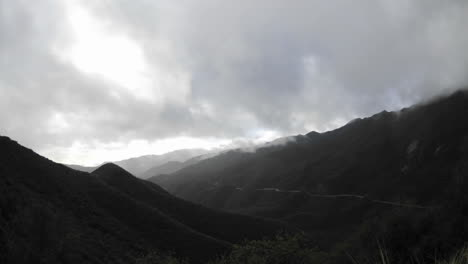 Time-lapse-motion-fast-storm-clouds-clearing-over-the-Santa-Ynez-Mountains-above-Ojai-California