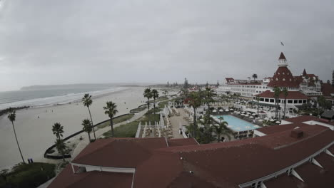 Time-lapse-of-clouds-clearing-above-the-historic-Hotel-Del-Coronado-in-San-Diego-California