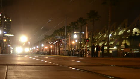 San-Diego-s-Orange-Line-Trolley-leaving-the-National-Historic-District-in-the-Gaslamp-Quarters-in-San-Diego-California