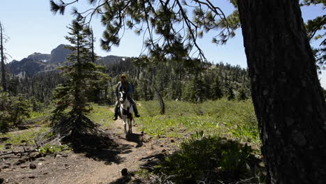 A-man-riding-his-horse-on-the-Pacific-Crest-Trail-near-Packer-Lake-Saddle-at-the-Sierra-Buttes-in-Tahoe-National-Forest-California