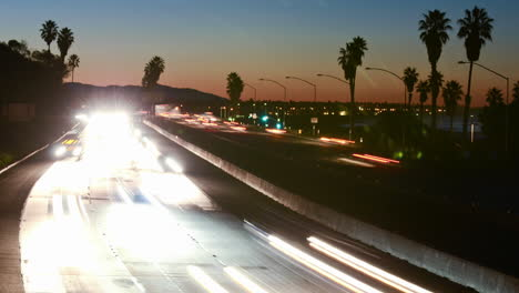 Medium-angle-Time-lapse-of-morning-rush-hour-traffic-on-the-Ventura-Freeway-on-Highway-101-through-Ventura-California