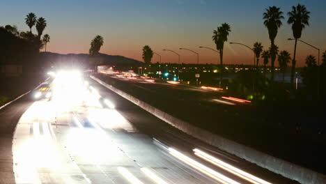 Medium-angle-Time-lapse-of-morning-rush-hour-traffic-on-the-Ventura-Freeway-on-Highway-101-through-Ventura-California