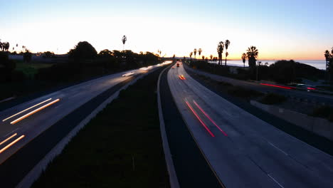 Wide-angle-Time-lapse-with-motion-of-morning-rush-hour-traffic-on-the-Ventura-Freeway-on-Highway-101-through-Ventura-California