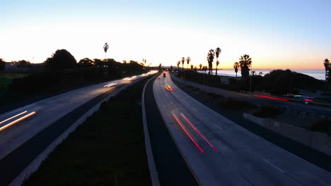 Wide-angle-Time-lapse-zooming-out-of-morning-rush-hour-traffic-on-the-Ventura-Freeway-on-Highway-101-through-Ventura-California
