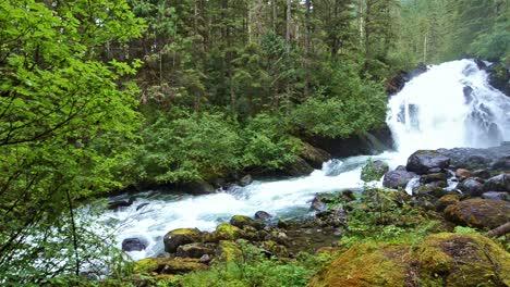 Pan-of-spring-melt-water-flowing-over-Cascade-Creek-waterfall-in-Thomas-Bay-Southeast-Alaska-1