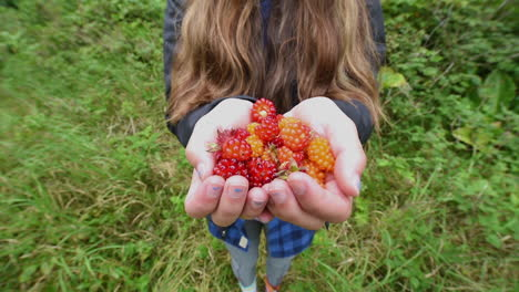 A-native-Alaska-girl-offers-salmonberry-to-the-visitor