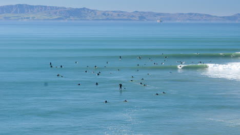 Time-lapse-of-surfers-in-the-waves-at-Surfers-Point-Ventura-California