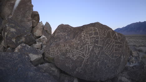 Dolly-shot-time-lapse-at-dawn-of-a-sacred-Owens-Valley-Paiute-petroglyph-site-in-the-Eastern-Sierras-California-1