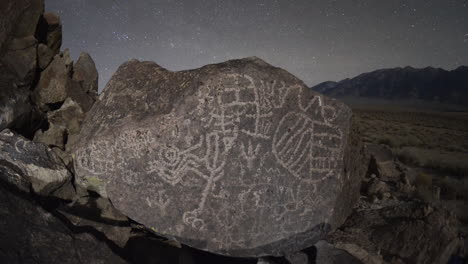 Dolly-shot-time-lapse-at-night-of-a-sacred-Owens-Valley-Paiute-petroglyph-site-in-the-Eastern-Sierras-California-3