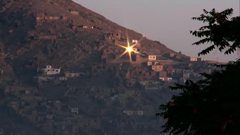 Sun-reflects-from-a-hillside-window-in-Kabul-Afghanistan
