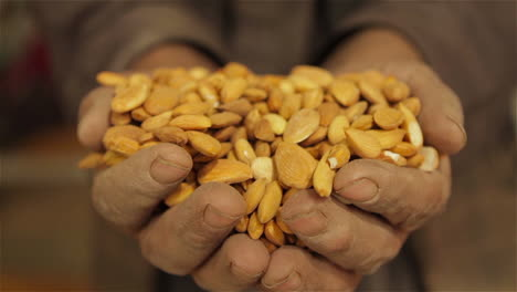 Hands-hold-dried-almonds-in-a-factory-in-Afghanistan