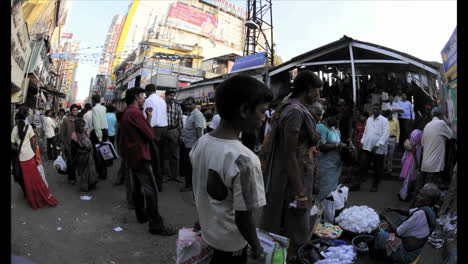 Time-lapse-shot-of-people-on-an-Indian-street