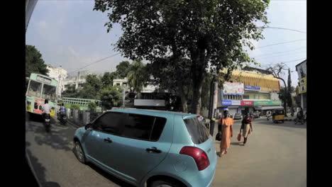 Dizzying-fisheye-time-lapse-of-traffic-on-an-Indian-road