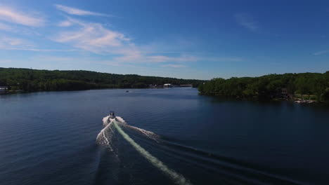 An-aerial-over-a-speedboat-on-Lake-Winnepesaukee-in-New-Hampshire