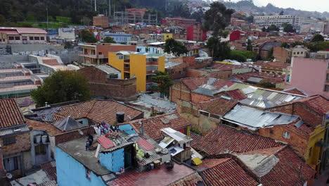 Beautiful-aerial-establishing-shot-of-old-buildings-and-neighborhoods-in-downtown-Bogota-Colombia-1