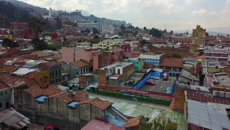 Beautiful-aerial-establishing-shot-of-old-buildings-and-neighborhoods-in-downtown-Bogota-Colombia-2