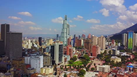 Beautiful-aerial-establishing-shot-of-old-buildings-modern-skyscrapers-Bogota-Colombia