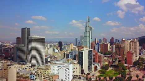 Beautiful-aerial-establishing-shot-of-old-buildings-modern-skyscrapers-Bogota-Colombia-1