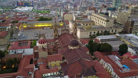 Nice-aerial-shot-over-downtown-Bogota-Columbia-and-Catholic-Church-cathedral-Primada-on-Plaza-Bolivar