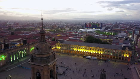 Nice-dusk-aerial-shot-over-downtown-Bogota-Columbia