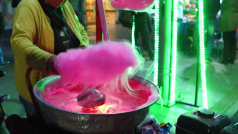 Cotton-candy-is-made-at-a-small-food-stall-in-South-America