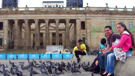 Pigeons-crowd-Plaza-Bolivar-in-downtown-Bogota-Colombia