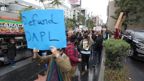 Protestors-in-Hollywood-marching-and-chanting-against-the-Dakota-access-pipeline