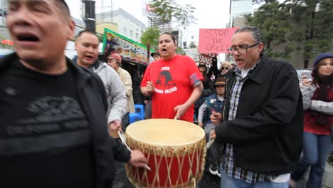 Native-Americans-pound-drums-in-Hollywood-marching-and-chanting-against-the-Dakota-access-pipeline