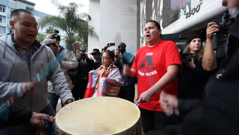 American-Indians-in-Hollywood-marching-and-chanting-against-the-Dakota-access-pipeline