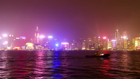 Fast-time-lapse-pan-at-night-of-Hong-Kong-harbor-China