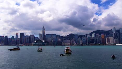 Fast-time-lapse-pan-establishing-of-Hong-Kong-harbor-China