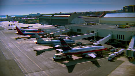 Aerial-over-US-Airways-jets-parked-at-Ronald-Reagan-International-airport-in-Washington-DC