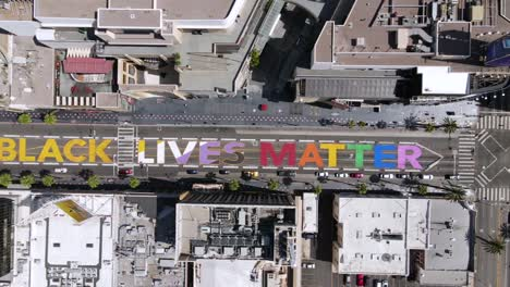 An-Excellent-Aerial-Shot-Of-The-All-Black-Lives-Matter-Mural-Painted-On-Hollywood-Boulevard-In-Los-Angeles-California