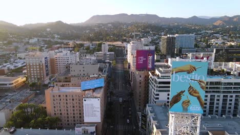 An-Excellent-Aerial-Shot-Of-Downtown-Los-Angeles-California-Leading-Up-To-The-Capitol-Records-Building