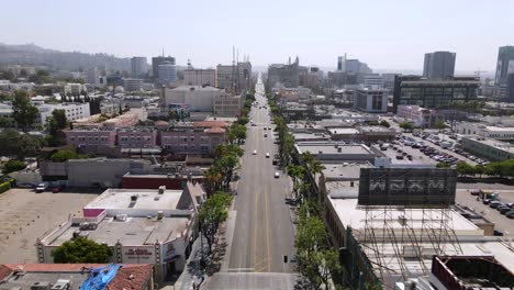 An-Excellent-Aerial-Shot-Of-Cars-Driving-Down-Sunset-Boulevard-In-Los-Angeles-California