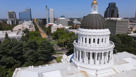 An-Excellent-Aerial-Shot-Of-The-Dome-Of-The-Capitol-Building-In-Sacramento-California