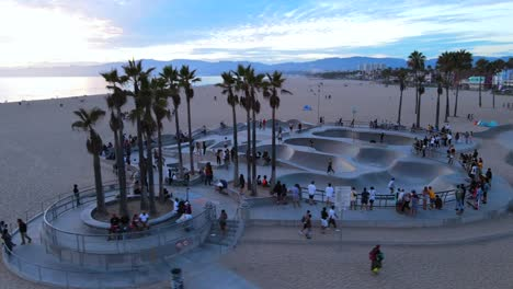 An-Excellent-Aerial-Shot-Of-People-Enjoying-A-Skate-Park-In-Venice-Beach-California-1