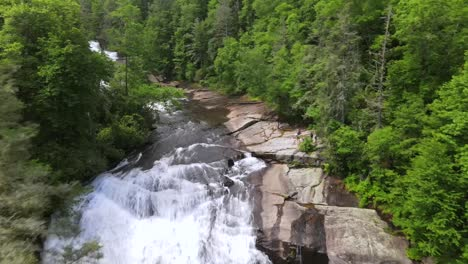 An-Excellent-Aerial-Shot-Of-Short-Waterfalls-Surrounded-By-Greenery-In-North-Carolina
