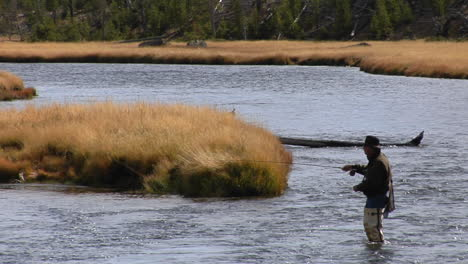 A-Fly-Fisherman-Casts-His-Line-Into-A-Flowing-Río