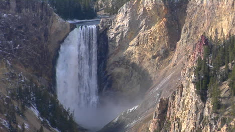 A-Waterfall-Cascades-Down-The-Grand-Canyon-Of-Yellowstone-National-Park-1