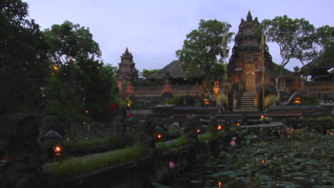 A-Beautiful-Balinese-Temple-Has-A-Pond-Of-Lily-Pads-In-Front