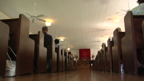 A-Low-Angle-Interior-Of-A-Traditional-Church-And-Pews