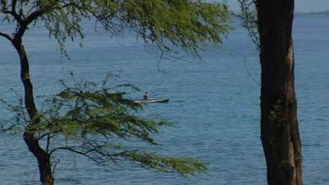 A-Kayak-Passing-A-Tropical-Island-As-Seen-Through-The-Forest