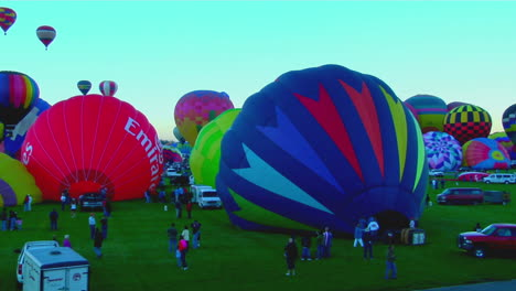 Time-Lapse-Shot-Of-Balloons-Filling-And-Rising-At-The-Albuquerque-Balloon-Festival