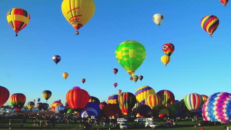 Hot-Air-Balloons-Rise-Against-A-Blue-Sky-At-The-Albuquerque-Balloon-Festival