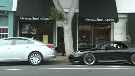 A-Car-Travels-Along-A-Street-In-Santa-Monica-California-As-Seen-Through-The-Side-Window-3