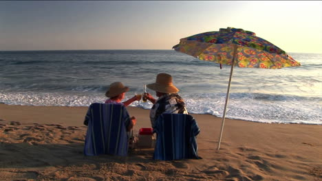 A-couple-under-an-umbrella-on-the-beach-make-a-toast-and-share-a-kiss